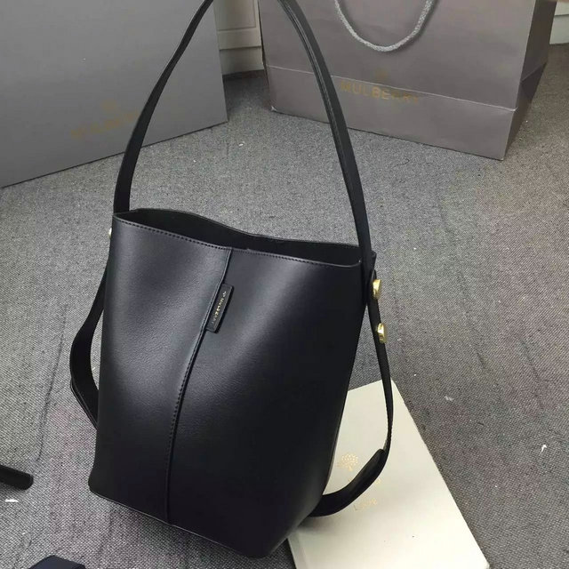 2016 Spring Mulberry Small Kite Tote Bag in Black Flat Calf Leather