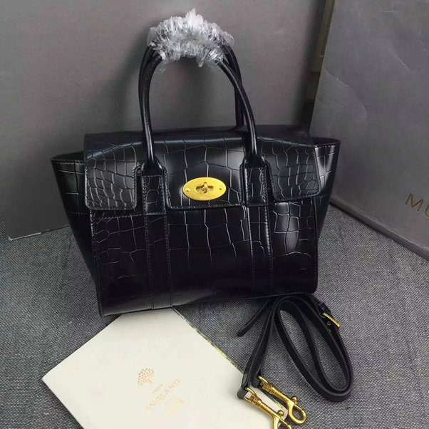 2016 A/W Mulberry Small New Bayswater Black Polished Embossed Croc