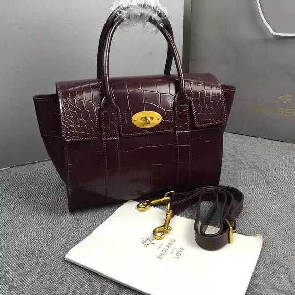 2016 A/W Mulberry Small New Bayswater Oxblood Polished Embossed Croc