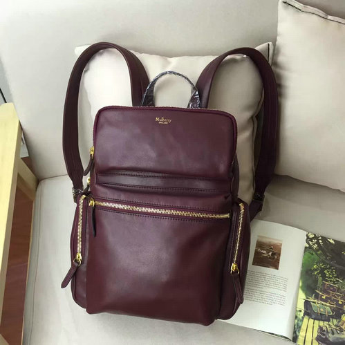 2016 F/W Mulberry Small Pocket Backpack Burgundy Smooth Calf Leather