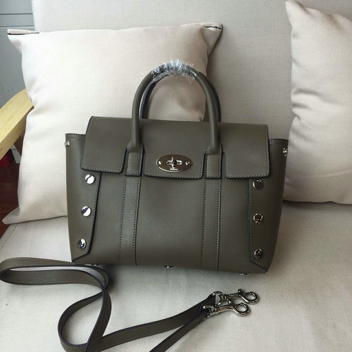 2016 F/W Mulberry Small New Bayswater Studs Satchel Clay Smooth Calf Leather