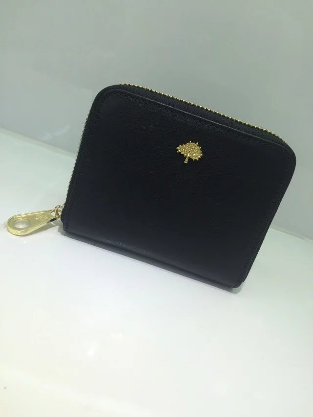 Classic Mulberry Tree Zip Around Purse Black Natural Leather