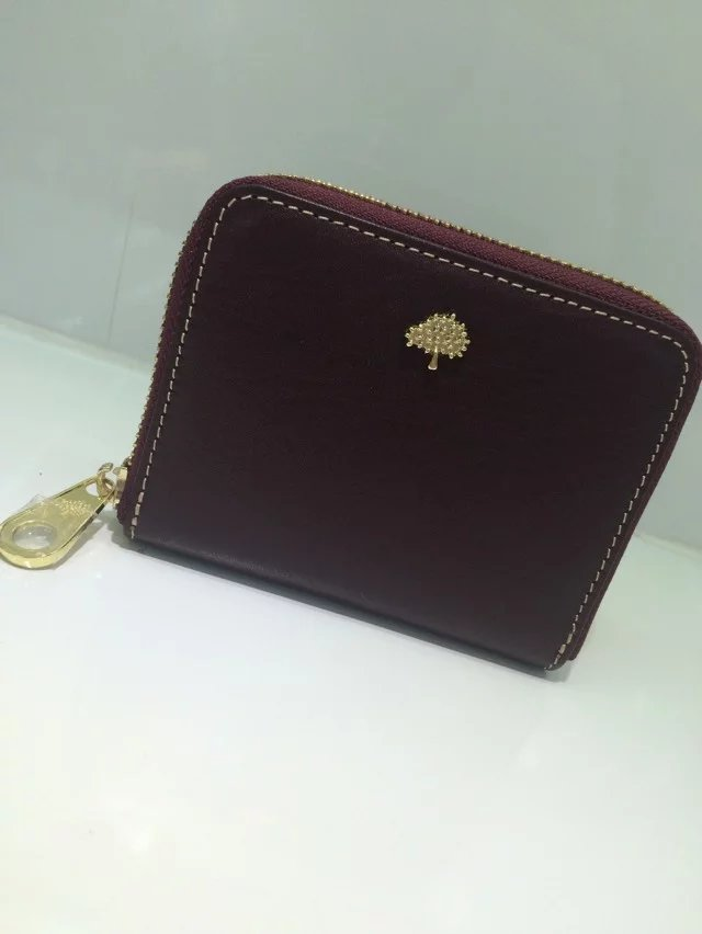 Classic Mulberry Tree Zip Around Purse Oxblood Natural Leather