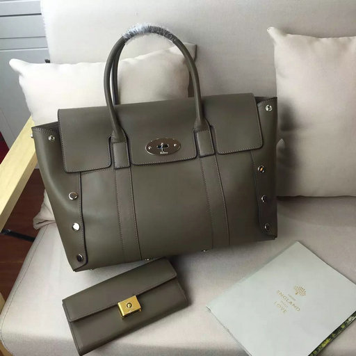2016 F/W Mulberry New Bayswater Studs Tote Bag Clay Smooth Calf Leather