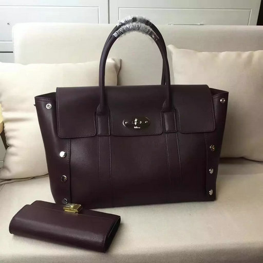 2016 F/W Mulberry New Bayswater Studs Tote Bag Oxblood Smooth Calf Leather