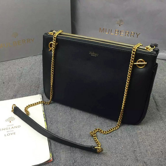 2016 A/W Mulberry Winsley Shoulder Bag in Black Smooth Calf Leather
