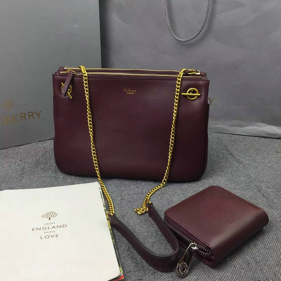 2016 A/W Mulberry Winsley Shoulder Bag in Burgundy Smooth Calf Leather