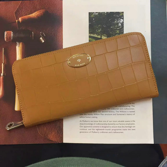 2016 Spring Mulberry Zip Around Wallet in Camel Croc Leaher