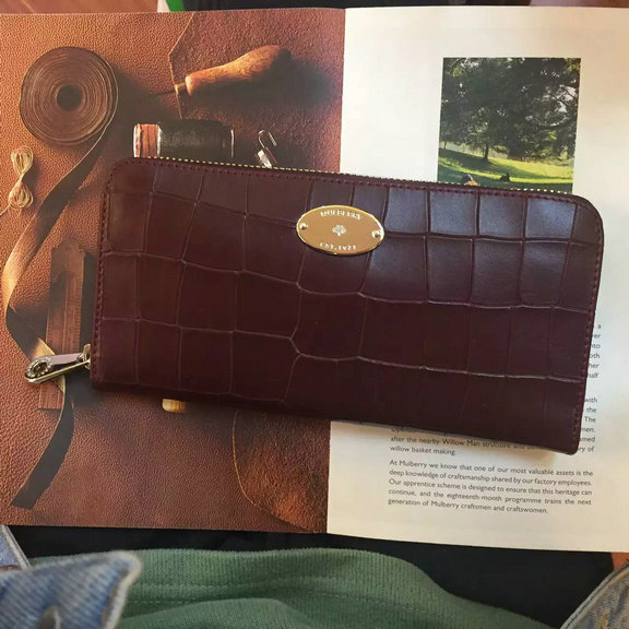 2016 Spring Mulberry Zip Around Wallet in Oxblood Croc Leaher