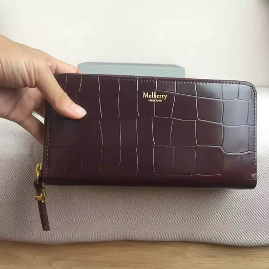 2016 A/W Mulberry Zip Around Wallet Oxblood Polished Embossed Croc