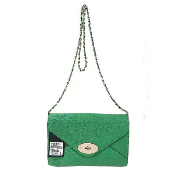 2016 S/S Mulberry Envelope Shoulder Bag Green Leather
