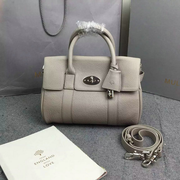 2016 Hottest Mulberry Small Bayswater Satchel in Grey Grainy Leather