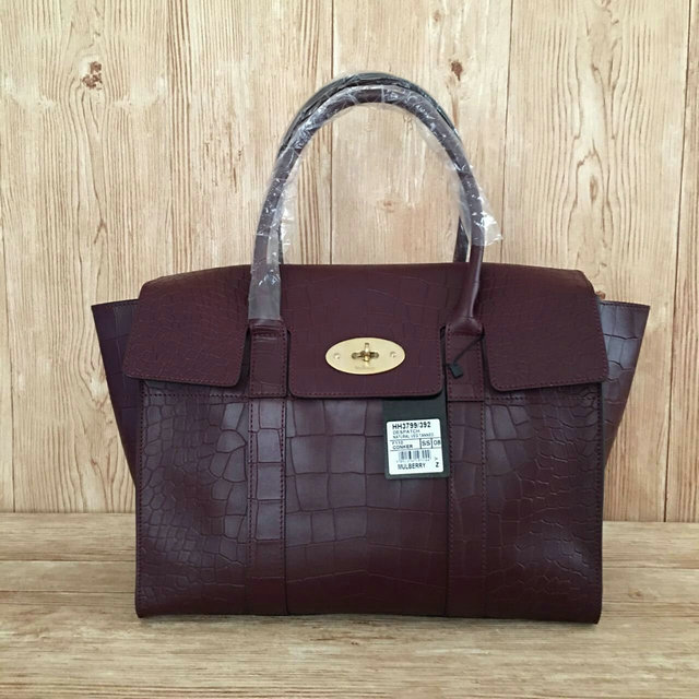 2016 A/W Mulberry New Bayswater Oxblood Polished Embossed Croc