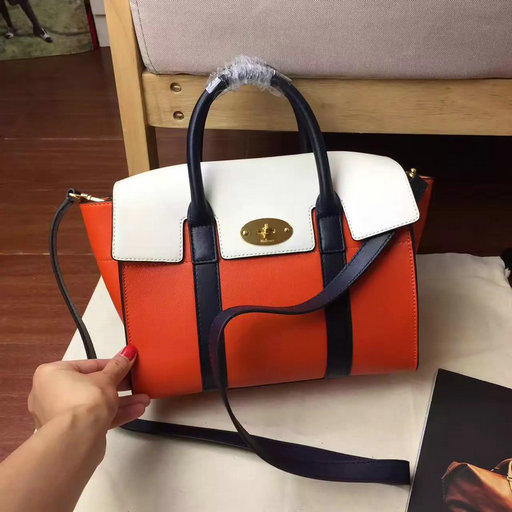 2017 Summer Mulberry Small New Bayswater Orange,Chalk & Midnight Smooth Calf