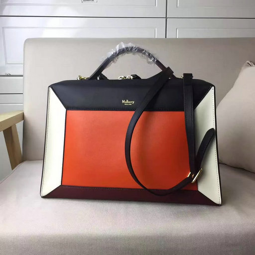 2017 Mulberry Hopton Black, Orange, Chalk & Crimson Smooth Calf