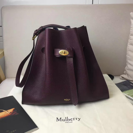 2017 Mulberry Tyndale Bucket Bag Burgundy Small Classic Grain