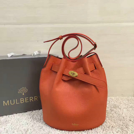 2017 Spring Mulberry Abbey Bucket Bag in Orange & Clay Grain Leather