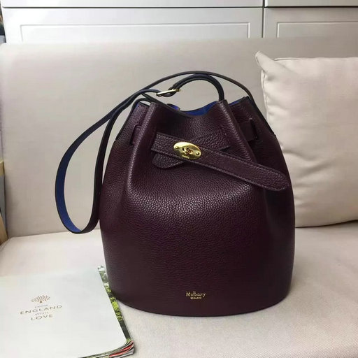 2017 Spring Mulberry Abbey Bucket Bag in Oxblood & Porcelain Blue Grain Leather