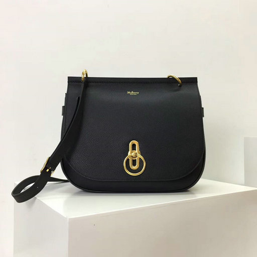 2017 Latest Mulberry Amberley Satchel Black Small Classic Grain
