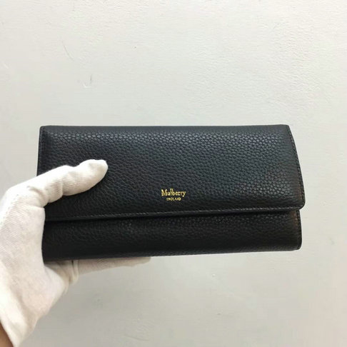 2017 New Mulberry Continental Wallet in Black Grain Leather