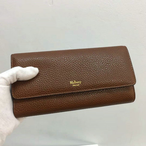 2017 New Mulberry Continental Wallet in Oak Grain Leather