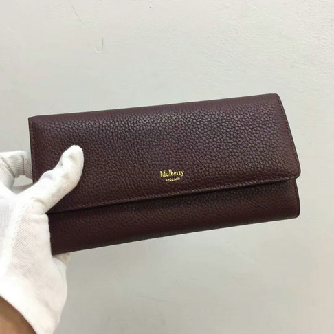2017 New Mulberry Continental Wallet in Oxblood Grain Leather