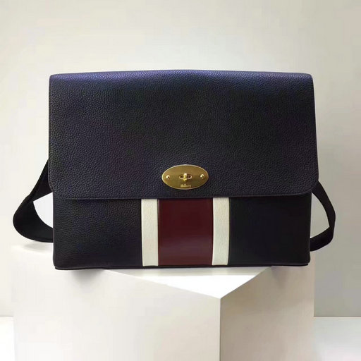 2017 Latest Mulberry East West Antony Midnight,White & Burgundy Small Classic Grain