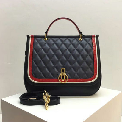 2017 Latest Mulberry Large Amberley Satchel Black,Chalk,Red Fox & Elephant Silky Calf & Croc Print