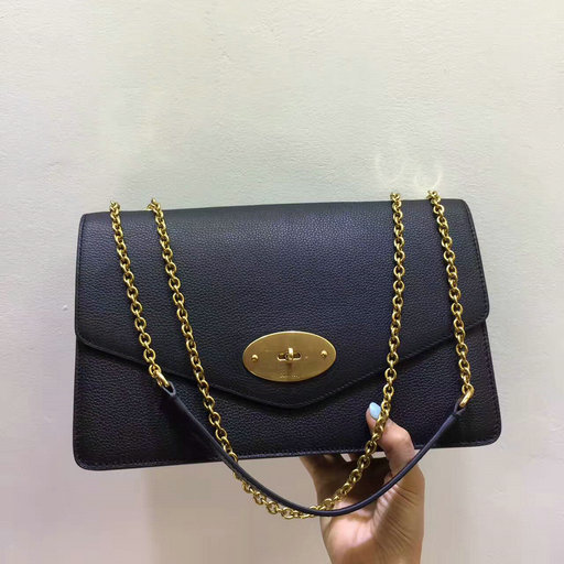 2017 Latest Mulberry Large Darley Bag Black Grain Leather