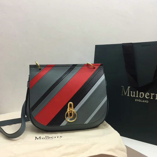 2017 Latest Mulberry Amberley Satchel Multicolor Stripes Calf Leather