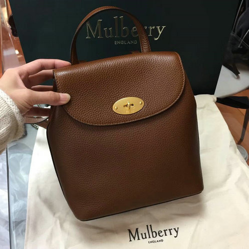 2017 Latest Mulberry Mini Bayswater Backpack in Oak Grain Leather