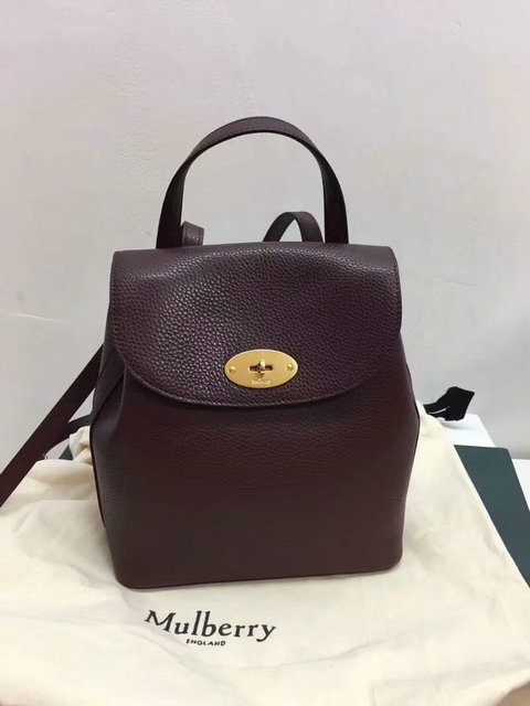 2017 Latest Mulberry Mini Bayswater Backpack in Oxblood Grain Leather