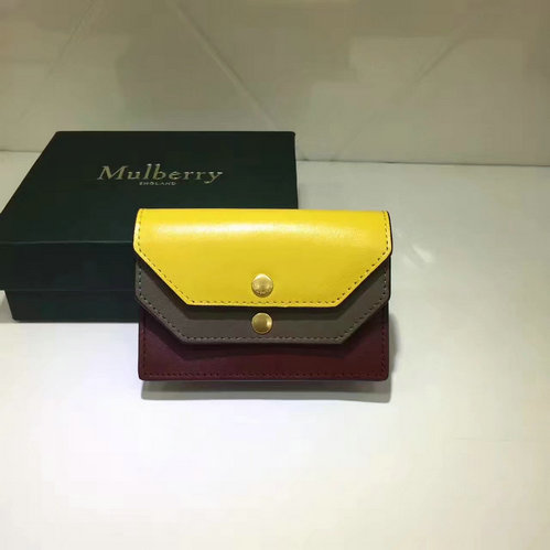 2017 Latest Mulberry Multiflap Card Case Sunflower,Clay & Crimson Smooth Calf