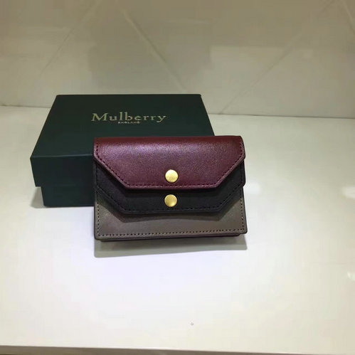 2017 Latest Mulberry Multiflap Card Case Crimson,Black & Clay Smooth Calf