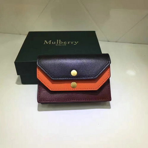2017 Latest Mulberry Multiflap Card Case Black,Bright Orange & Crimson Smooth Calf