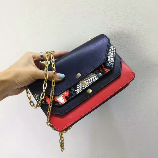 2017 Summer Mulberry Multiflap Clutch Multicolour Snakeskin with Midnight & Fiery Red Smooth Calf