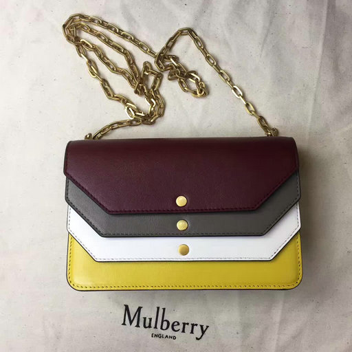 2017 Summer Mulberry Multiflap Clutch Crimson,Clay,Chalk & Sunflower Smooth Calf