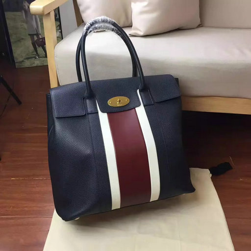 2017 Summer Mulberry Oversized Bayswater Midnight, White & Burgundy Small Classic Grain