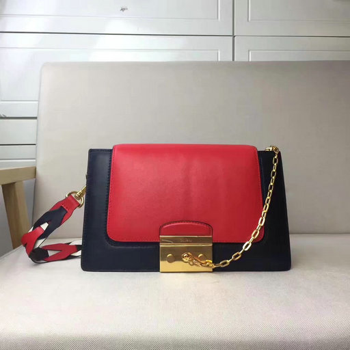 2017 Mulberry Pembroke Satchel in Red,Midnight Blue & White Leather