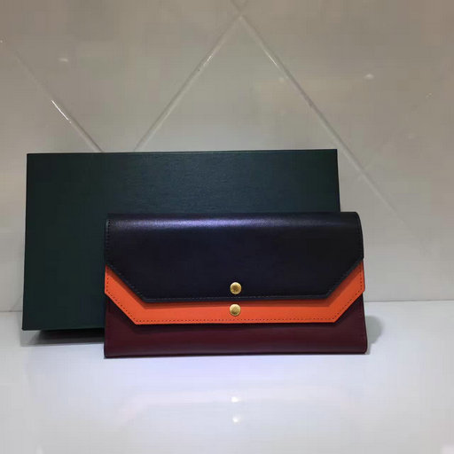 2017 Latest Mulberry Multiflap Wallet Black,Bright Orange & Crimson Smooth Calf