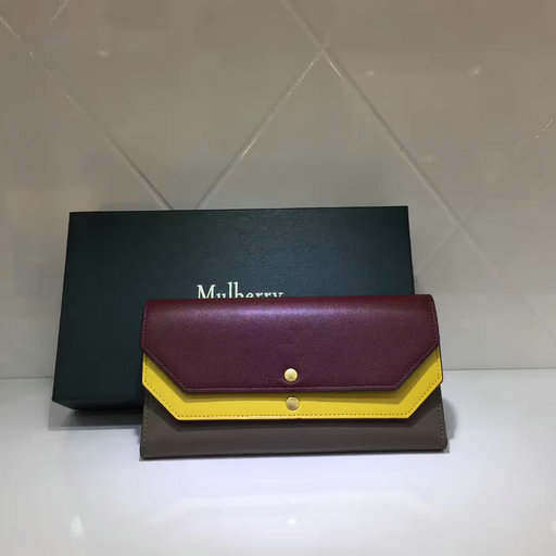 2017 Latest Mulberry Multiflap Wallet Crimson,Sunflower & Clay Smooth Calf