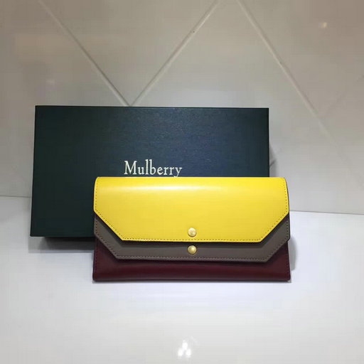 2017 Latest Mulberry Multiflap Wallet Sunflower,Clay & Crimson Smooth Calf