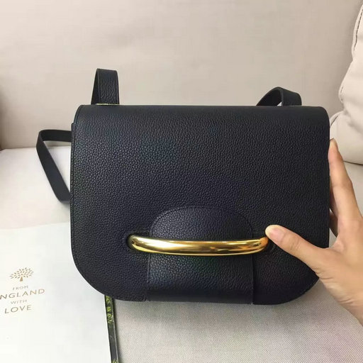 2017 Spring Mulberry Selwood Satchel Bag Black Classic Grain