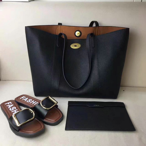 2017 Latest Mulberry Bayswater Tote Black Small Classic Grain Leather