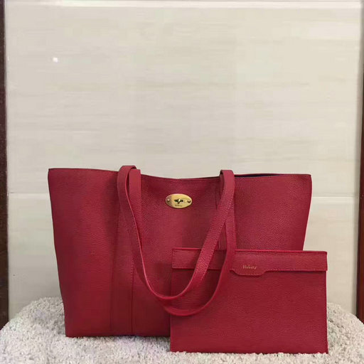 2017 Latest Mulberry Bayswater Tote Red Small Classic Grain Leather