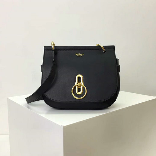 2017 Latest Mulberry Small Amberley Satchel Black Leather