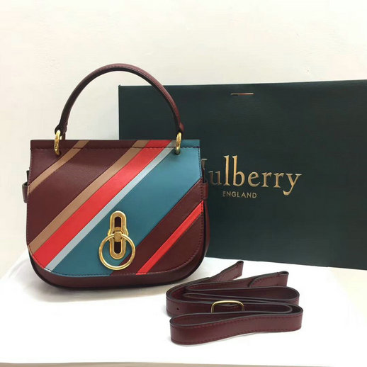 2017 Latest Mulberry Small Amberley Satchel Multicolor Stripes Calf Leather