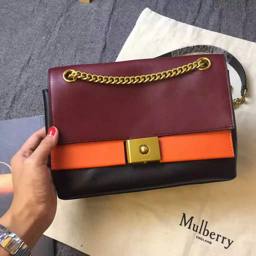 2017 Summer Mulberry Cheyne Bag Oxblood,Bright Orange & Black Smooth Calf