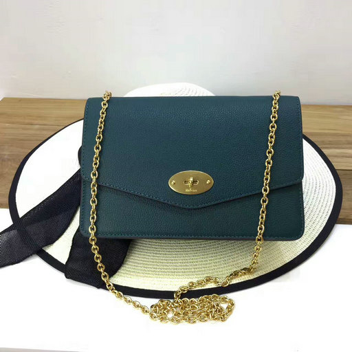 2017 Latest Mulberry Small Darley Clutch Ocean Green Grain Leather