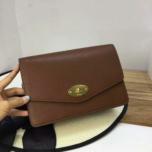 2017 Latest Mulberry Small Darley Clutch Oak Grain Leather